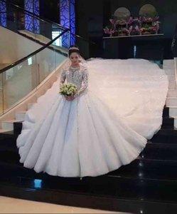 Vestido de Noiva Ensotek Crystal Dentelle 2021 Ball Dubaï Arabe Musulman Robe de mariée Robe de mariée Robe Mariage