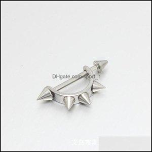 Stick Earrings Jewelry2Pcs D-Shaped Punk Rock Men Women Taper Spike Rivet Ear Hoop Pierced Earring 1879 Q2 Drop Delivery 2021 9Brv8