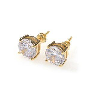 Boucles d'oreilles Hip Hop Hook Boucles d'oreilles Bijoux Haute Qualité Fashion Ronde Gold Argent Simulé Diamond Boucle d'oreille pour hommes