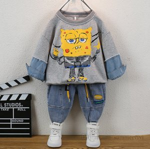 Fashion boys clothing sets kids cartoon anime printed long sleeve sweatshirt+letter lace-up elastic jeans 2pcs autumn children causal outfits Q2267
