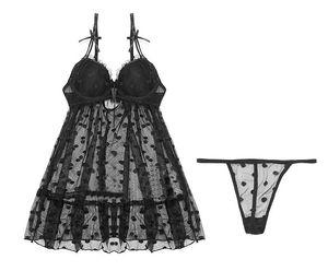 New Black Polka Dot Women sexy lingerie mesh transparent gauze large swing sling nightdress Nightgown baby dolls chemise pajamas #3004