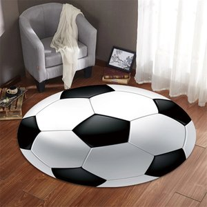 Cartiin Football Print Carpet Basketball Volleyball Carpets for Living Room Bedroom Children Area Round Rug Playing Mats