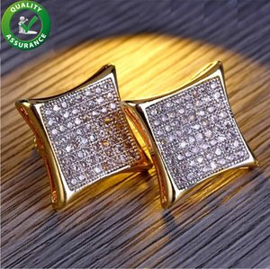Designer Earrings Mens Luxury Hip Hop Jewelry Boho Earings Bling Diamond Rapper Gold Stud Pandora Style Ear Ring Fashion Wedding Accessories