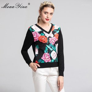 MoaaYina Fashion Designer Knitting Pullovers Sweater Spring Women Long sleeve Rose Floral Casual Knitting Sweater Plus size 2XL1