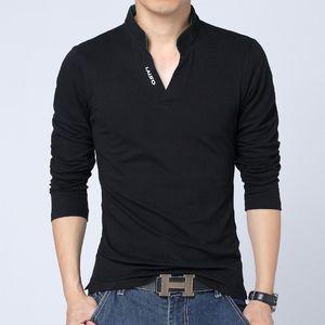 Футболка мужская повседневная с длинным рукавом Мужские футболки Мода Slim Fit Colump Brand Одежда Harajuku Мандарин Воротник Tee Мужские футболки