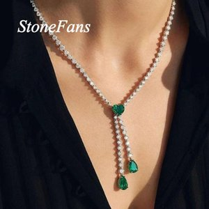 Stonefans Red Green Crystal Heart Necklace Tennis Choker For Women Fashion Rhinestone Chain Double Pendant Jewelry Necklaces