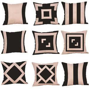 Pillow Case Minimalist style geometric black and white pattern 2021 sofa pillowcase flax Beige base tone soft factory direct sale HHC7528