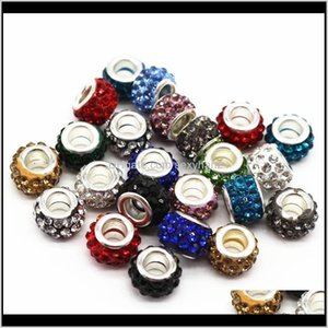 Acrylic, Plastic, Lucite Loose Drop Delivery 2021 12Mm Big Hole With Rhinestone Diy Jewelry Making Beads Fits Charms Bracelets Necklaces 100P
