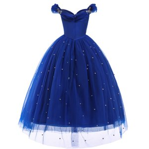 Princess Cinderella Dress up Clothes Girl Off Shoulder Pageant Ball Gown Kids Deluxe Fluffy Bead Halloween Party 805 V2