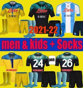 Hombres niños 2021 2022 Insinence Napoli Jersey Jersey Kits Nápoles 20 21 22 Zielinski Maradona Mertens Callejon Player RPG Camisas de fútbol para adultos Niños Establece uniforme