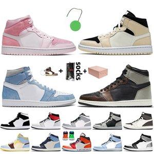 Nike Air Jordan Retro 1 1s Off White Travis Scott 1 2020 منتصف شيكاغو بلاك تو معدني الذهب Jumpman 1 1S أحذية عالية OG الحيوية هالسلة الحريرالأردنريترو المرأة أحذية رياضية