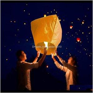 Decoraciones 10pcsset DIY Chino Volando Sky Ing Lantern Papel Linternas Lámpara para Fiesta de Navidad Decoración de la boda 201027 Veeod SDZNV