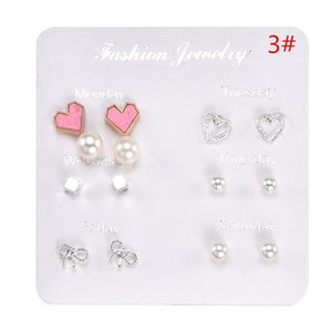 One Week Cute Stud Earrings Set Lovely Star Leaf Heart Earrings Girl Women Kid 6 Pairs set Exquisite Daily Party Wedding Gift Jewelry 114 G2