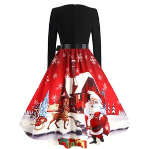 Dress Christmas Women Winter Long Mouw V-neck Elegant Vintage Santa Print Xmas Party outfits Black Big Shoulder Plus size