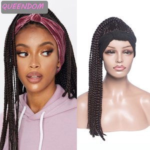 Long Box Braided Head Band Wig for Black Women 22 Inch Golden Braids Synthetic Headwrap Wigs Heat Resistant Cosplay Turban Wig