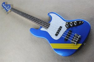 custom made 4 strings jb electric bass, metal blue guitar,maple neck ,yellow stripe,shell pickguard,basswood body ,chrome buttons