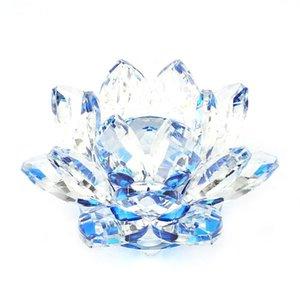 80 мм кварцевый кристалл лотос цветок ремесел стеклянные препараты Fengshui украшения фигурок дома свадьба декор подарки сувенирный декоративный