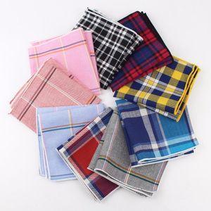 100% Cotton Handkerchief Scarves Vintage Hankies Men Pocket Square Handkerchiefs Striped Solid Snot Rag 22*22 cm