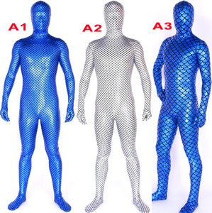 Unisex 3 Color Shiny Lycra Metallic Fish Scales Catsuit Costume Back Zip Sexy Mermaid Bodysuit Costumes Full Outfit Halloween Party Fancy Dress Cosplay Suit M818