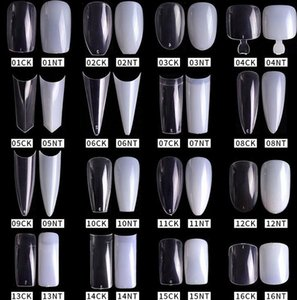 500pcs pack Natural Clear False Acrylic Nail Tips Full Half Cover Tips French Sharp Coffin Ballerina Fake Nails UV Gel Manicure Tools