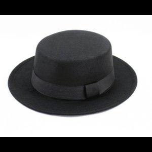 Classic Flat Top Hat For Women's Felt Wide Brim Fedora Laday Prok Pie Chapeu De Feltro Bowler Gambler 2021 Hats