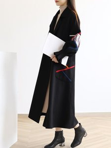 Women's Laine Blends Drapeau de laine Manteau de laine Femme rayée Croix colorée Notchée pleine manche longue longueur épaisse High Street 2021 Hiver Mode XQ109 ZU52