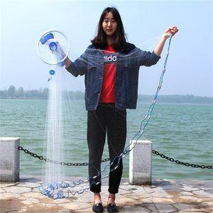 2.4m 7.87ft Diameter Fishing Cast Net Mesh Spread Whire Nest US Hand Throwing Catch Fish Nylon Network Spin Diameter Bait Sinker 1301 Z2