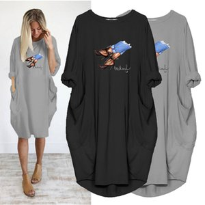 Spring Robes Femme Long Sleeve Dress Casual Dresses High Heels Print Vintage Vestidos o Neck Pocket Party Women Plus Size