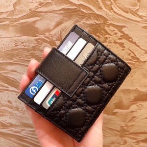 2020 D fashion men card holders woman mini wallet Designer pure color genuine leather luxury wallet dio with box Wallet