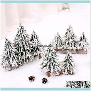 Festive Party Supplies & Gardenartificial Tree Ornament Desktop Decoration Xmas Mall Window Snow Spruce Decor Christmas Decorations For Home