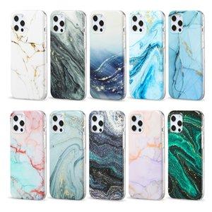 Cas de téléphone portable TPU doux en marbre de luxe pour iPhone 12 11 Pro Max Mini XR XS 8 7 PLU