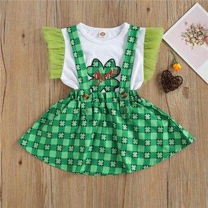 Clothing Sets Girl's Casual Suit Round Neck Short Mesh Sleeve Falbala Elastic T-shirt Four Leaf Clover Print Suspender Skirt