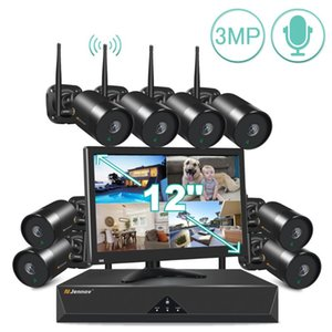 Jennov Wireless Surveillance System Kit 3MP HD WIFI Home Security 12 Inch LCD Monitor Outdoor Video Camera Set Kits