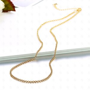 Hohe Qualität 18 Karat vergoldet ROLO Ketten Halsketten Mode 1,5mm 18 Zoll DIY Anhänger Messing Halskette Feine Schmuck für Frauen Mädchen 326 Q2