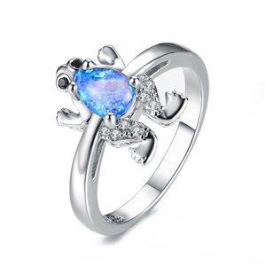 Pera corte azul blanco fuego ópalo rana anillos para las mujeres 925 plata esterlina llena negro rojo circón zircon piedra de nacimiento anillo de boda joyería