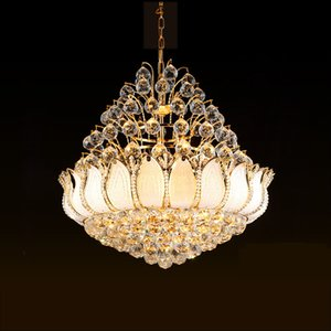 Modern Golden Crystal Chandeliers Lights Fixture LED American Chandelier Lotus Flower Home Indoor Lighting Hall Bed Living Room Hanging Lamp DHL