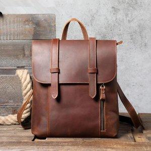 Women Men Vintage Genuine Leather Backpack Laptop Shoulder Bag Crazy-horse Cowhide Preppy School