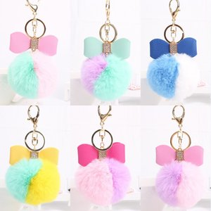 Cute Plush Ball Key Ring Multi Color 8cm Pompom Keychains Pendant Keyring Holder Portable Home Outdoor Bow Keyfobs 8 Styles Kimter-X913FZA