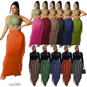 2021 autumn and winter women's pencil skirt long skirt Stripe Print tassel skirt lulu365