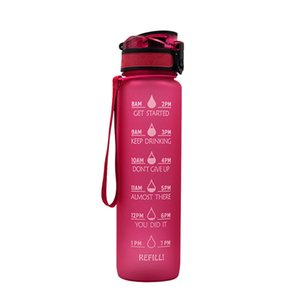 1L Plastic Sports Outdoor Water Bottle With Time Scale Reminder Gradient Water Bottle GYM Jug Cup Plastic Drinking Bottles SEA WAY CCF6166