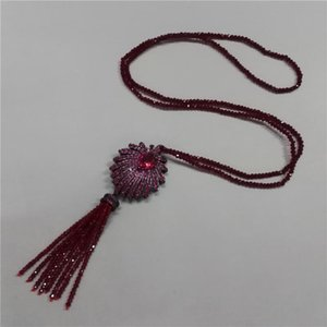 Boho Wine Red Glass Beaded Tassel With Gun Black CZ Crystal Palm Tree Charm Pendant Beads Women Chain Necklace Necklaces