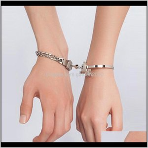 Favor Event Festive Supplies Home Garden Drop Delivery 2021 2Pc A Couple Lovers Love Heart Lock Bracelet Stainless Steel Bracelets Bangles Ke