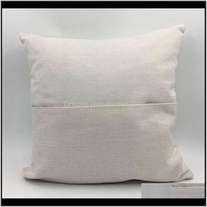 40*40Cm Sublimation Blank Book Pocket Pillow Case Solid Color Diy Polyester Linen Cushion Cover Home Décor Wb3196 Hnupl Mgcpr