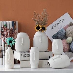 Vases INS Nordic Decor Rustic Home Face Shape Ceramic Flower Vase Decoration Modern Room For