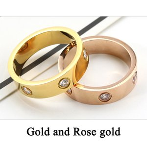 Titanium Steel love Ring Gold Silver Rose Gold Wedding Band rings for women Luxury Zirconia Engagement Rings men Wholesales jewelry