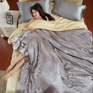 Luxury Pure Satin Silk Bedding Set Single Queen King Size Bed Set Duvet Cover & Flat Sheet & Pillowcases Comforter Home Textile 1339 V2