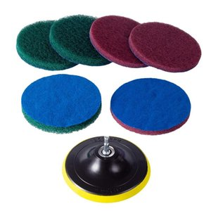 Hand & Power Tool Accessories 5 Inch Drill Brush Tile Scrubber Scouring Pads Cleaning Kit, Heavy Duty Household (Drill NOT Included)
