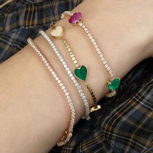Green Red Blue Crystal Heart Gold Plated Bracelets Bangle With 5A Cubic Zircon For Women Hip Hop Punk Fashion Charm