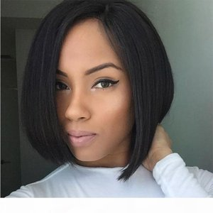 Pre Plucked Hairline Upart Wigs For Black Women Side Part Virgin Peruvian Human Hair Glueless Short u Part Bob Wigs With Baby Hair