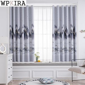 Curtain & Drapes Chinese Landscape Curtains For Living Room Printed Drape Blackout Bay Window Cloth Door Partition Blinds Shade Z242#D